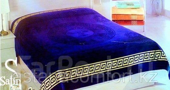 Покрывало - плед велюр/махра. Синий цвет. Хлопок 100%. 150*200. Турция.