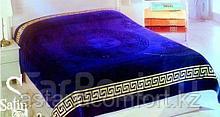 Покрывало - плед велюр/махра. Синий цвет. Хлопок 100%, размер 200х220 см. Турция.
