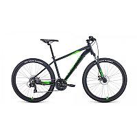 """Велосипед FORWARD APACHE 27,5 2.0 disc (27,5"""" 21 ск. рост 17"""") 2020-2021, черный матовый/ярко-зелены, фото 1"""