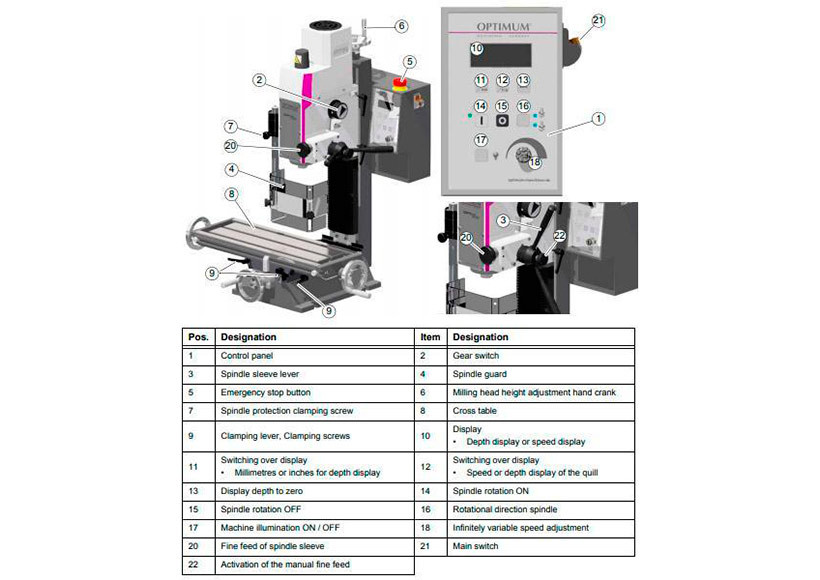 Станок фрезерный Optimum OPTImill MH20VL - фото 5