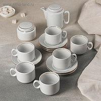 Сервиз чайный «Комфорт», 14 предметов: чайник 500 мл, 6 чашек 220 мл, 6 блюдец 14 cм, сахарница 285 мл