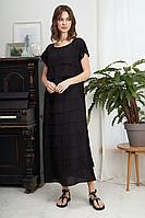Женское летнее из вискозы черное платье Fantazia Mod 3425 черный 50р.
