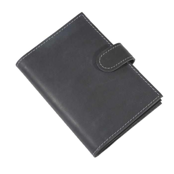 Обложка для автодокументов и паспорта, с карточками, на кнопке, натуральная кожа, цвет чёрный