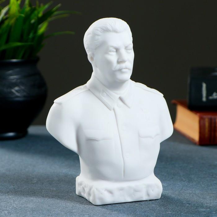 Бюст Сталин большой 15х12см, белый / мраморная крошка