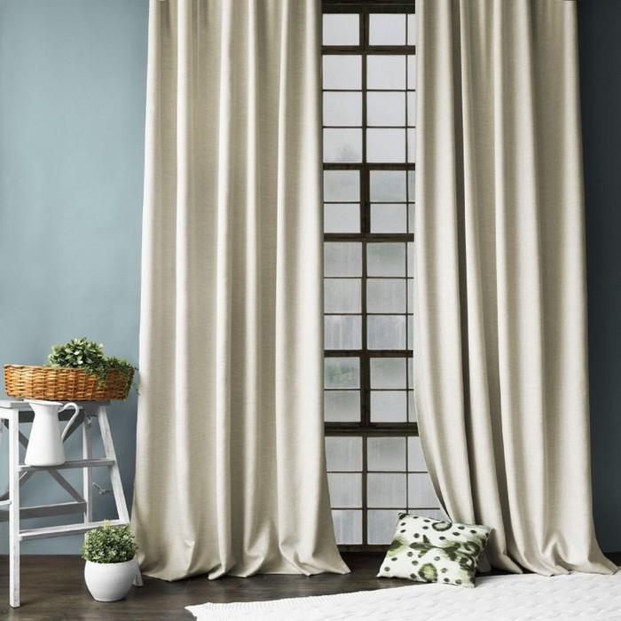 Комплект штор «Конни», размер 200 х 270 см - 2 шт, подхват - 2 шт см, цвет бежевый
