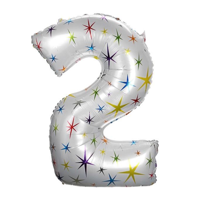 """Шар фольгированный 40"""" «Цифра 2», разноцветные звёзды"""