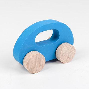 Каталка -Машинка деревянная, синяя