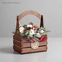 """Кашпо флористическое «Новогоднее поздравление"""", 15 × 21 × 31.5 см"""