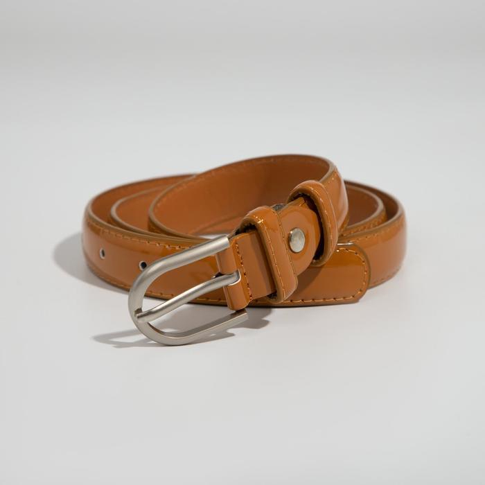 Ремень женский, 2 строчки, пряжка металл, ширина - 2,3 см, цвет коричневый - фото 1