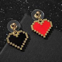 """Серьги ассорти """"Сердечки"""" пиксели, цвет красно-чёрный в золоте"""