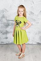 Детское для девочек летнее трикотажное зеленое платье GuliGuli П-49 зеленый+собака 98-52р.