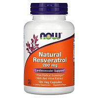Натуральный ресвератрол, Now Foods, 200 мг, 120 растительных капсул
