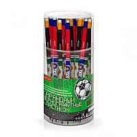 Карандаш чернографитный Hatber HB с ластиком Football