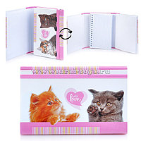 Записная книжка 80+50л Hatber на резинке котята