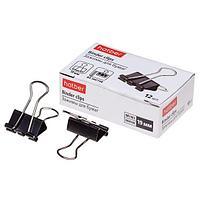 Зажимы для бумаг Hatber 19 мм 12 шт в картонной упаковке - Черные