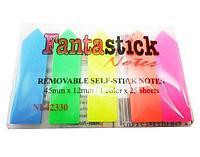 Закладки клейкие 45*12мм FantastickK, 5цв*25л, стрелки, пластиковые