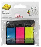 Закладки клейкие 48*20мм PRONOTI, 3цв*20 листов, типZ, пластиковые