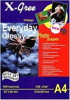 Фотобумага X-Gree А4, глянцевая, 120 гр (100 листов)