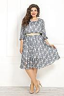 Женское летнее шифоновое серое нарядное большого размера платье Solomeya Lux 782A серый 58р.