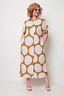 Женское летнее из вискозы большого размера платье Michel chic 993 белый+рыжий 66р.