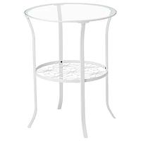 Придиванный столик КЛИНГСБУ белый, прозрачное стекло ИКЕА, IKEA
