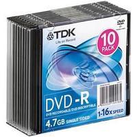 Диск TDK, DVD-R, 4.7 Gb, 16х, Slim.