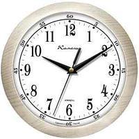 """Часы настенные ход плавный, Камелия """"Дуб светлый"""", круглые, 29*29*3,5, св-корич. рамка"""