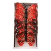 Декор Бабочка красная, 10см 6шт/уп