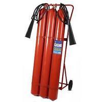 Огнетушитель углекислотный с тележкой 3 балона  ОУ-50