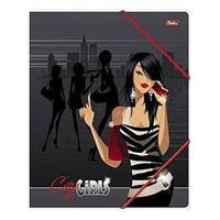 Папка для тетрадей с клапанами А5 картонная на резинке -Гламурные девушки