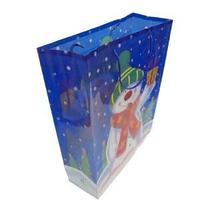 Новогодний подарочный пакет, пластик с изображением снеговика, цвет синий, размер: 28,5x37x10 см.
