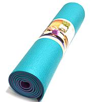 Коврик для йоги и фитнеса (йогамат) 5 мм двухсторонний бирюзовый