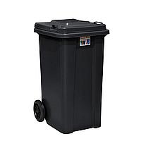 Бак для мусора с крышкой, на колесах, 120 л, цвет черный