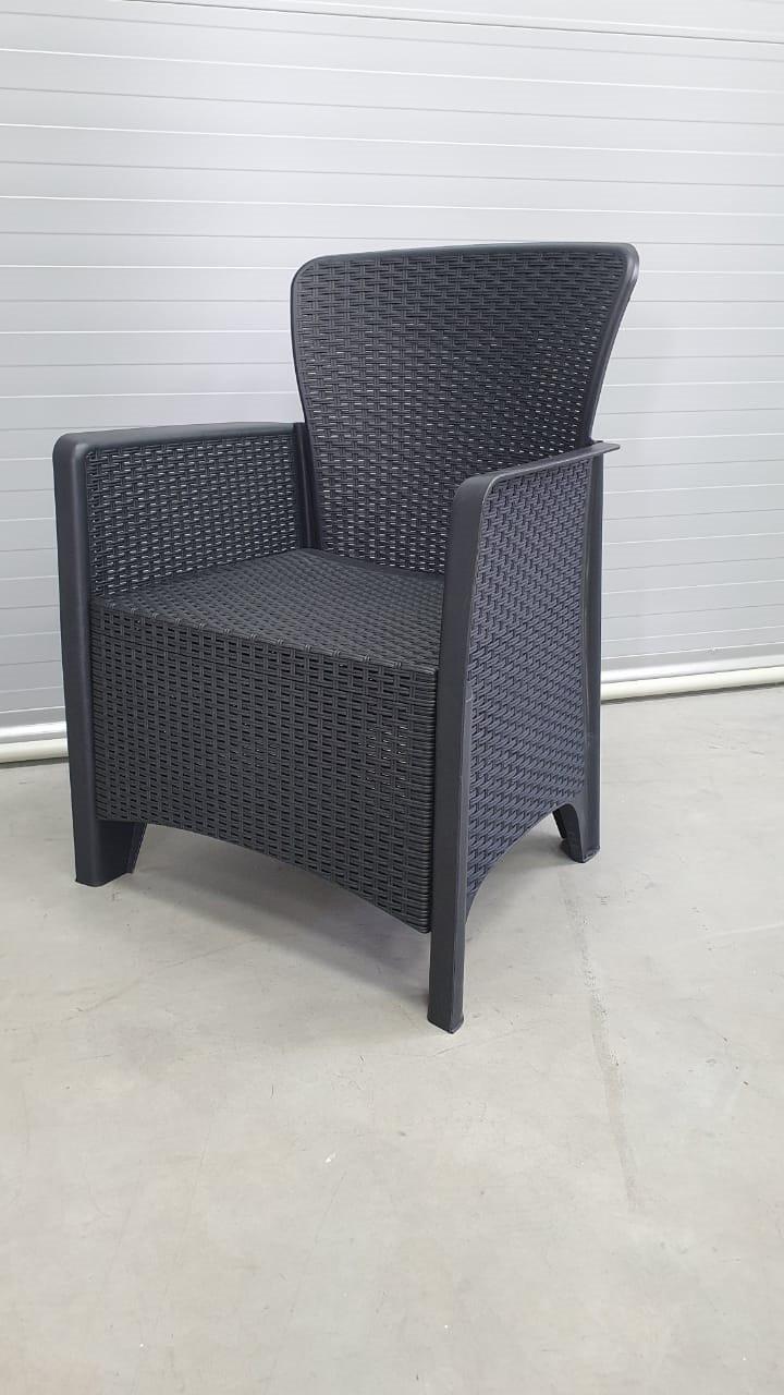 Набор садовой мебели два кресла и стол пластиковые, цвет антрацит - фото 3