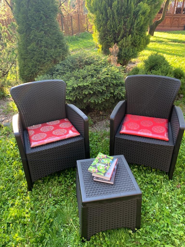 Набор садовой мебели два кресла и стол пластиковые, цвет антрацит - фото 2