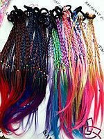 Косички цветные тонкие из искусственных волос