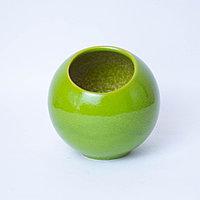 Ваза шар вертикальная Flower Ball из керамики зеленая, глянцевая