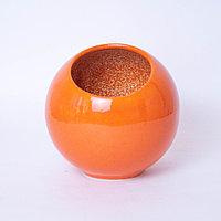 Ваза вертикальная шар Flower Ball из керамики оранжевая глянцевая