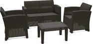 Набор садовой мебели «Бора» диван два кресла и стол пластиковые, цвет антрацит