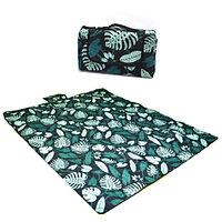 Пляжный коврик-сумка складной непромокаемый текстиль 200х200 см темный тропический узор