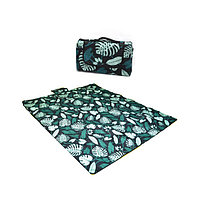 Пляжный коврик-сумка складной непромокаемый текстиль 150х180 см темный тропический узор