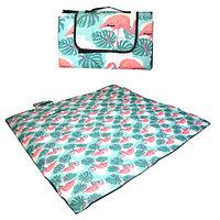 Пляжный коврик-сумка складной непромокаемый текстиль 200х200 см тропический узор с фламинго