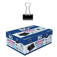 Зажимы длябумаг BG 19мм 80л 12шт в картонной упаковке - Цветные