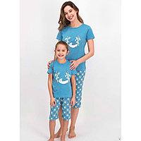 Пижама детская девичья 6-7 лет / 116-122 см, Голубой