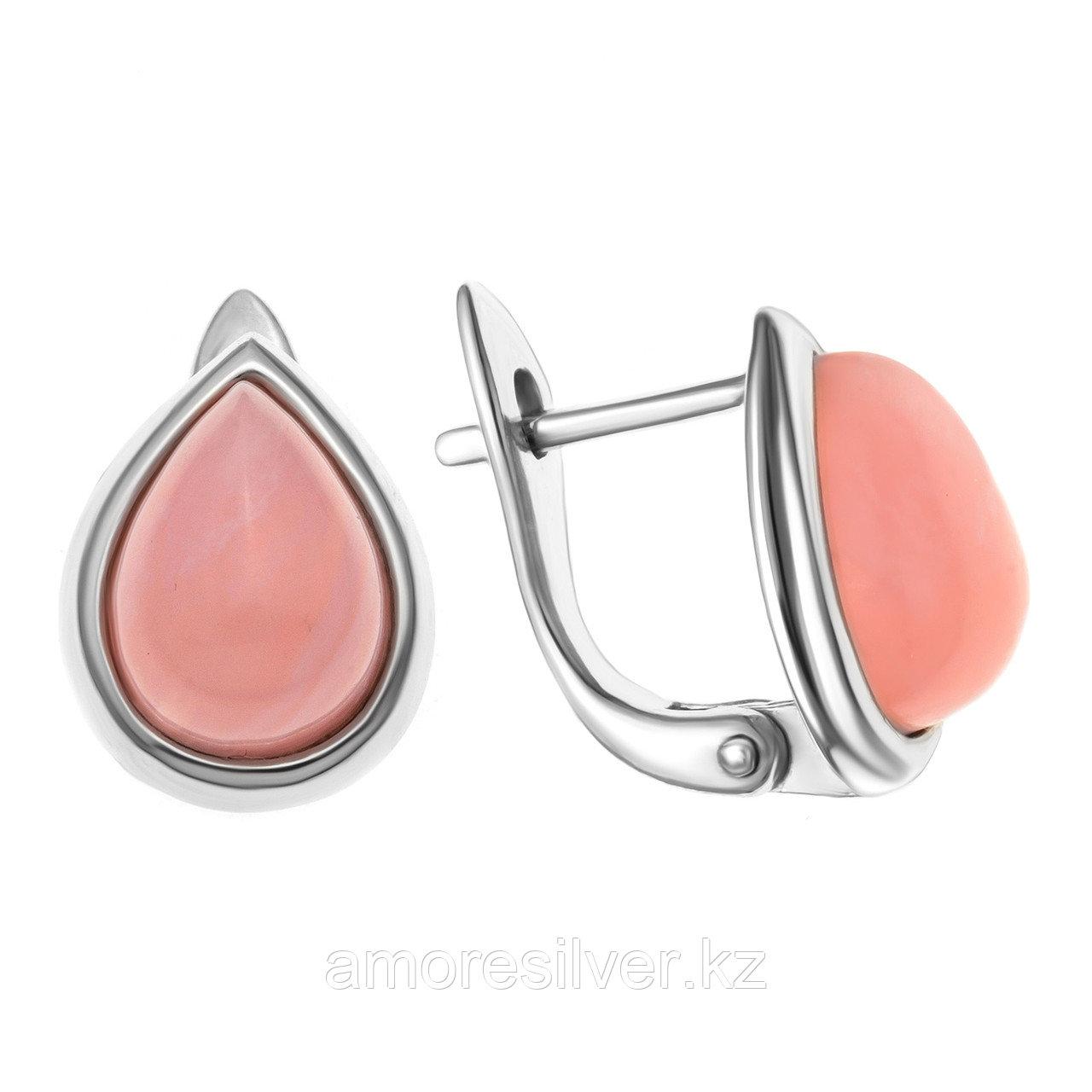 Серьги  серебро с родием, кварц розовый, капля 929P11030aa