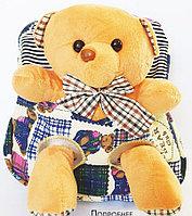 Рюкзак с мягкой игрушкой (мишка,собачка, игрушки снимаются) 26*21см, фото 1