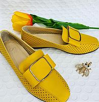 Балетки кожаные желтого цвета, с перфорацией и бантиком гномик