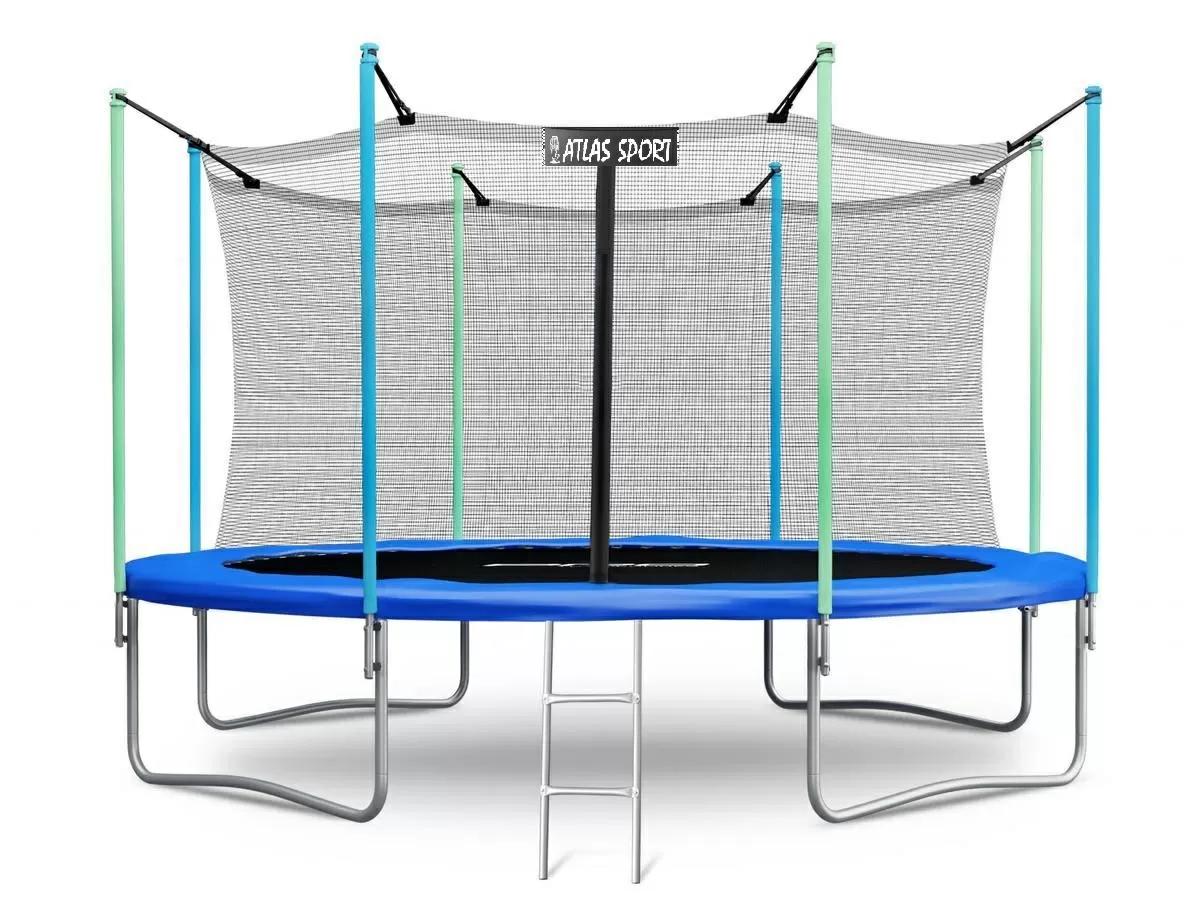 Батут Atlas Sport 374 см (12 ft) с внутренней сеткой и лестницей BLUE