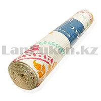 Коврик для йоги и фитнеса (йогамат) 5 мм 61х173 см с восточным узором белый с узором