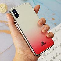 Чехол для смартфона пластиковый с блестками на IPHONE XS красный